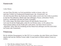 Denk-Haus Dachau: Fensterrecht - Brief an Mietern